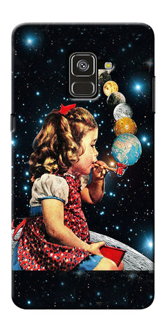 Girl Bowing Planets Printed Designer Back Case Cover For Samsung Galaxy A8 Plus 2018