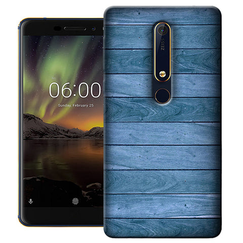 Digiprints Blue Wooden Design Printed Designer Back Case Cover For Nokia 6.1(2018)