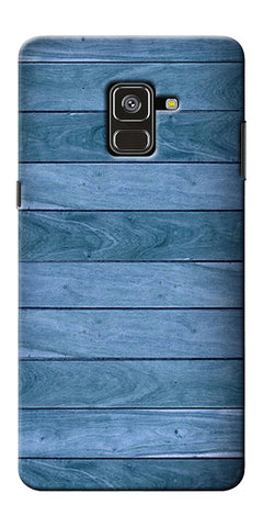 Blue Wooden Design Printed Designer Back Case Cover For Samsung Galaxy A8 Plus 2018