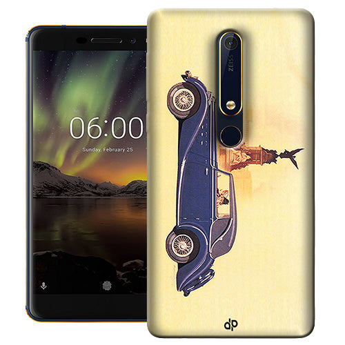 Digiprints Vintage Car Printed Designer Back Case Cover For Nokia 6.1(2018)