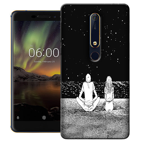 Digiprints Couple In The Space Printed Designer Back Case Cover For Nokia 6.1(2018)