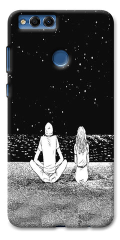 Digiprints Couple In The Space Printed Designer Back Case Cover For Huawei Honor 7X