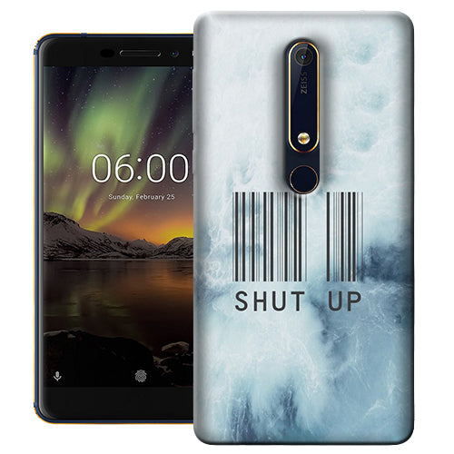 Digiprints Shut Up With Barcode Printed Designer Back Case Cover For Nokia 6.1(2018)