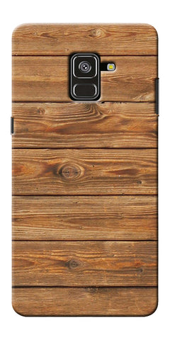 Brown Wooden Pattern Printed Designer Back Case Cover For Samsung Galaxy A8 Plus 2018