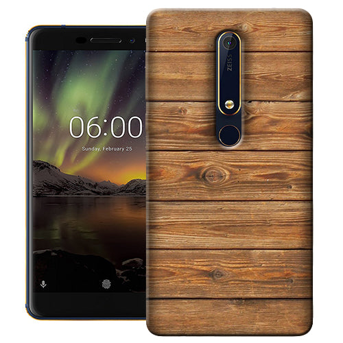 Digiprints Brown Wooden Pattern Printed Designer Back Case Cover For Nokia 6.1(2018)