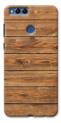 Digiprints Brown Wooden Pattern Printed Designer Back Case Cover For Huawei Honor 7X