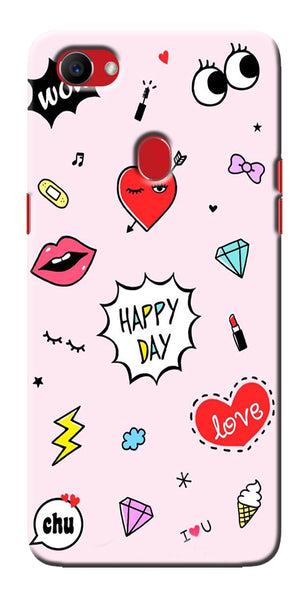 Digiprints Girly Love Collage Printed Designer Back Case Cover For Oppo F7