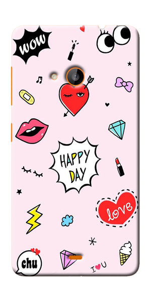 Digiprints Girly Love Collage Printed Designer Back Case Cover For Microsoft Lumia 540