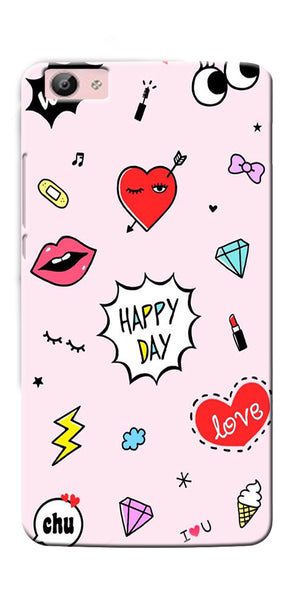 Digiprints Girly Love Collage Printed Designer Back Case Cover For Vivo V5S