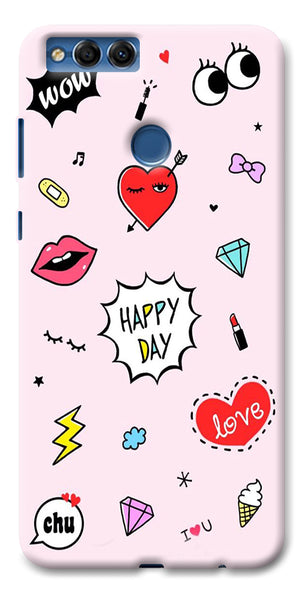 Digiprints Girly Love Collage Printed Designer Back Case Cover For Huawei Honor 7X
