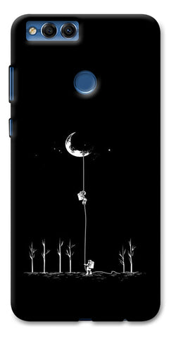 Digiprints Climbing The Moon Printed Designer Back Case Cover For Huawei Honor 7X