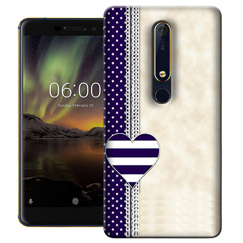 Digiprints Heart Design Love Pattern Printed Designer Back Case Cover For Nokia 6.1(2018)