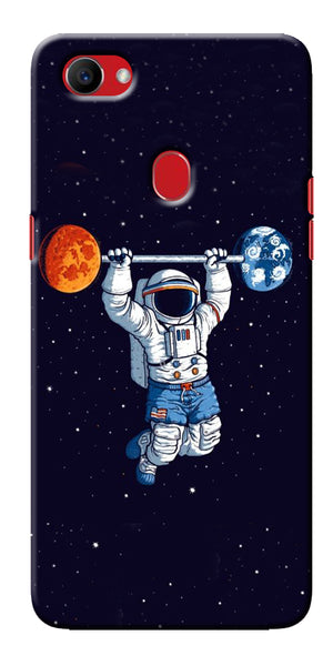 Digiprints Astranaut Lifting Planets Printed Designer Back Case Cover For Oppo F7