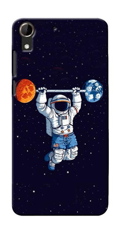 Astranaut Lifting Planets Printed Designer Back Case Cover For HTC Desire 728