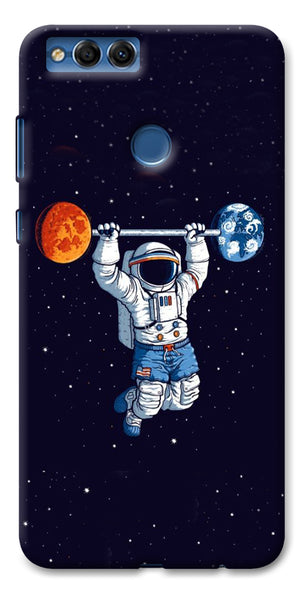 Digiprints Astranaut Lifting Planets Printed Designer Back Case Cover For Huawei Honor 7X