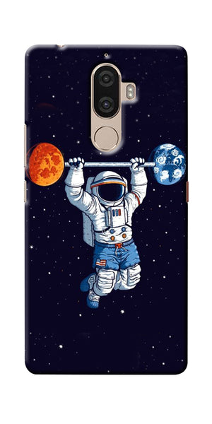 Digiprints Astranaut Lifting Planets Printed Designer Back Case Cover For Lenovo K8 Plus