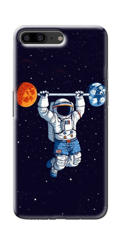 Astranaut Lifting Planets Printed Designer Back Case Cover For OnePlus 5