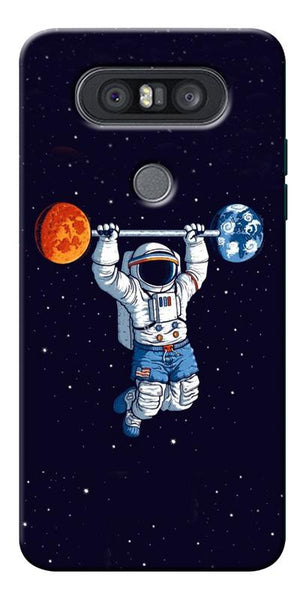 Astranaut Lifting Planets Printed Designer Back Case Cover For LG Q8