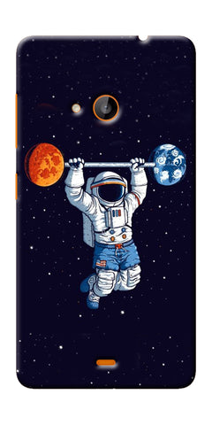 Digiprints Astranaut Lifting Planets Printed Designer Back Case Cover For Microsoft Lumia 540