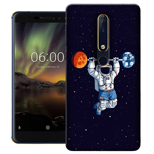 Digiprints Astranaut Lifting Planets Printed Designer Back Case Cover For Nokia 6.1(2018)