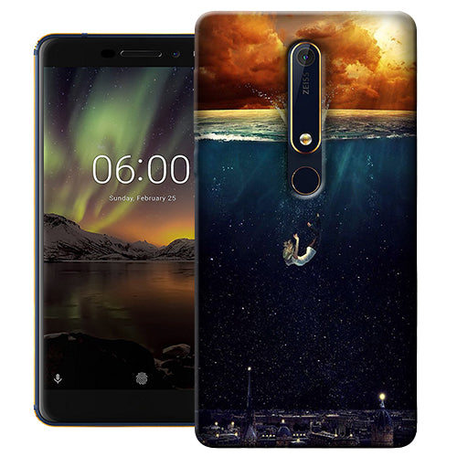 Digiprints Beautiful City In Sea Printed Designer Back Case Cover For Nokia 6.1(2018)