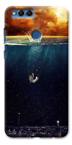 Digiprints Beautiful City In Sea Printed Designer Back Case Cover For Huawei Honor 7X