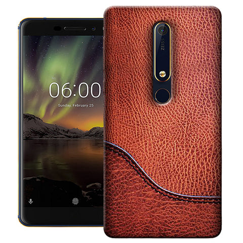 Digiprints Brown Leather Design Printed Designer Back Case Cover For Nokia 6.1(2018)