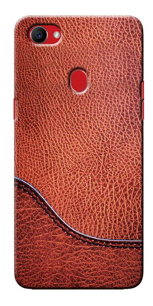 Digiprints Brown Leather Design Printed Designer Back Case Cover For Oppo F7