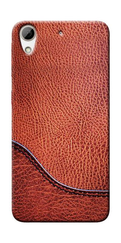 Brown Leather Design Printed Designer Back Case Cover For HTC Desire 626