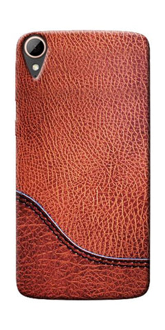 Brown Leather Design Printed Designer Back Case Cover For HTC Desire 828