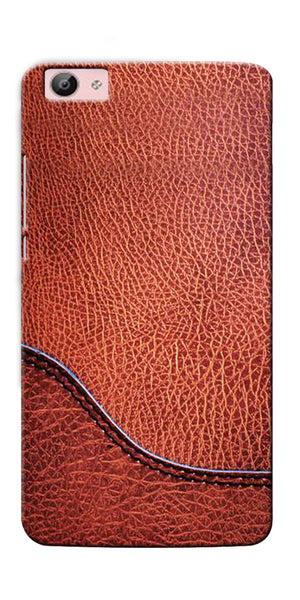 Digiprints Brown Leather Design Printed Designer Back Case Cover For Vivo V5