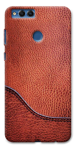 Digiprints Brown Leather Design Printed Designer Back Case Cover For Huawei Honor 7X