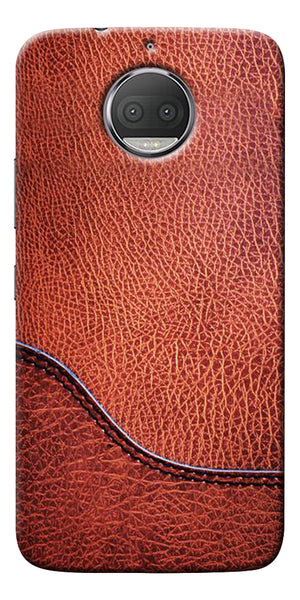 Brown Leather Design Printed Designer Back Case Cover For Motorola Moto G5S Plus
