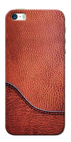 Digiprints Brown Leather Design Printed Designer Back Case Cover For Apple iPhone 5