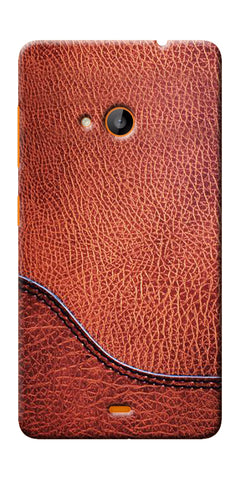 Digiprints Brown Leather Design Printed Designer Back Case Cover For Microsoft Lumia 540