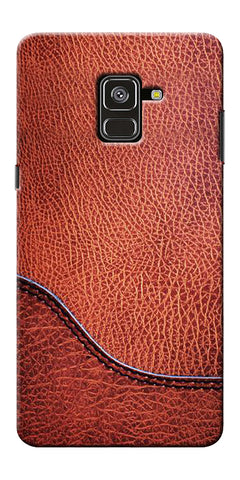 Brown Leather Design Printed Designer Back Case Cover For Samsung Galaxy A8 Plus 2018