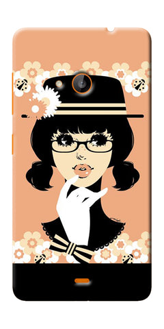Digiprints Thinking Lady Printed Designer Back Case Cover For Microsoft Lumia 540