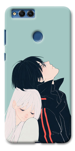 Digiprints Cute Couple Printed Designer Back Case Cover For Huawei Honor 7X