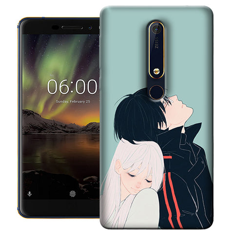 Digiprints Cute Couple Printed Designer Back Case Cover For Nokia 6.1(2018)