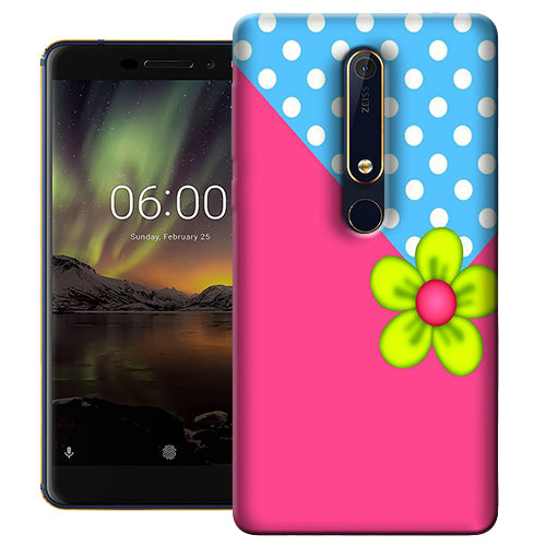 Digiprints Pink Pattern Flower Art Printed Designer Back Case Cover For Nokia 6.1(2018)