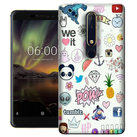 Digiprints Social Collage Printed Designer Back Case Cover For Nokia 6.1(2018)