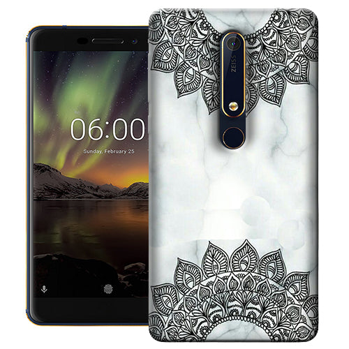 Digiprints Ehtnic Pattern On Marble Printed Designer Back Case Cover For Nokia 6.1(2018)