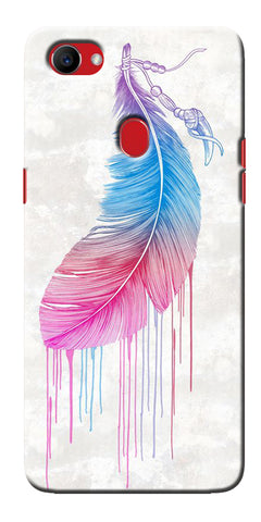 Digiprints Feather Paint Drop Printed Designer Back Case Cover For Oppo F7