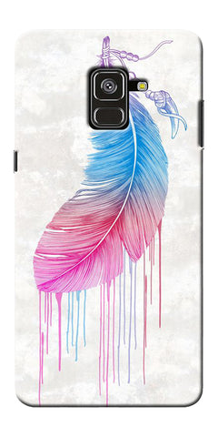 Feather Paint Drop Printed Designer Back Case Cover For Samsung Galaxy A8 Plus 2018