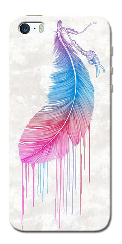 Digiprints Feather Paint Drop Printed Designer Back Case Cover For Apple iPhone 5