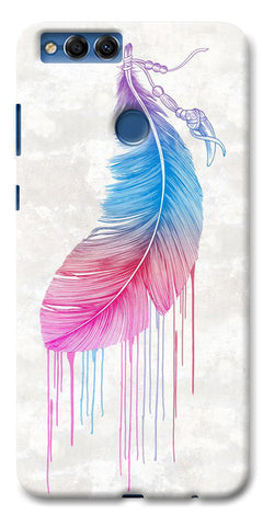 Digiprints Feather Paint Drop Printed Designer Back Case Cover For Huawei Honor 7X