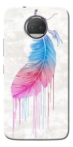 Feather Paint Drop Printed Designer Back Case Cover For Motorola Moto G5S Plus