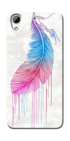 Feather Paint Drop Printed Designer Back Case Cover For HTC Desire 626