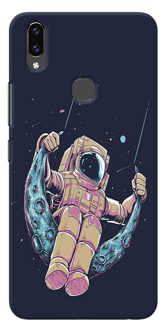 Astranaut Riding Moon Printed Designer Back Case Cover For Vivo V9
