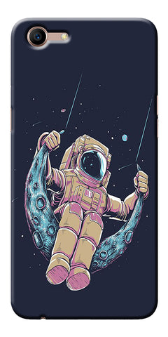 Astranaut Riding Moon Printed Designer Back Case Cover For Oppo A83